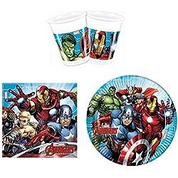 PROCOS 52Piezas Marvel Avengers Party-Juego de vajilla de Platos, Vasos y servilletas