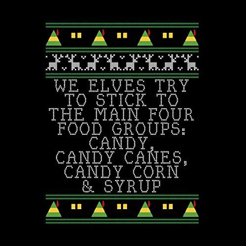 Candy Food Groups Elf Quote Christmas Knit Men's Vest Black