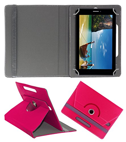 Acm Rotating 360° Leather Flip Case For Iball Slide 7236 2g Tablet Cover Stand Dark Pink  available at amazon for Rs.149
