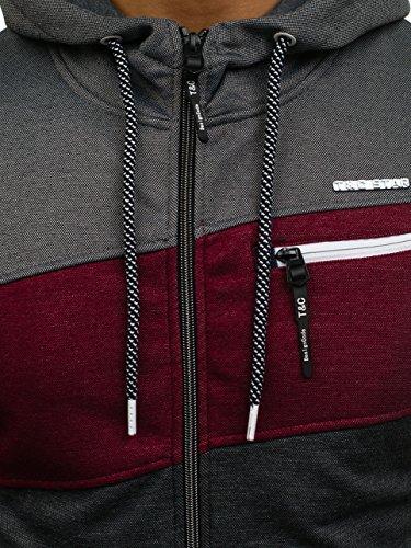 BOLF Herren Kapuzenpullover mit Reißverschluss Baumwollmischung Sweatjacke Hoodie 1A1 Mehrfarbig_2103C
