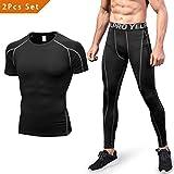 Niksa 2 Piezas Conjunto de Ropa Deportiva para Hombre Camiseta de Compresión Manga Corta y Mallas Largas para Correr Fitness Entrenamiento Yoga Negro Gris 1053+1060(L