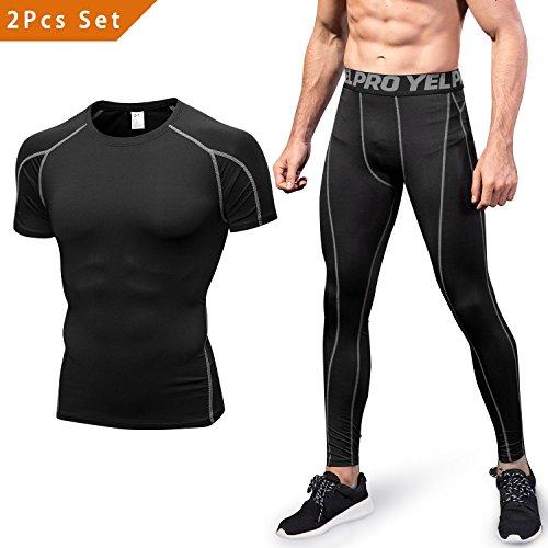 2 Pièces Vêtements de Sport Niksa Homme Ensemble de Fitness Compression Running Jogging Athletisme Football Tenue de Sport Sportswear(Noir-gris(1053+1060)S)