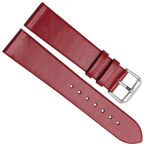 22mm-ultra-thin-handmade-vintage-cowhide-leather-watch-strap-watch-band-silver-buckle-red