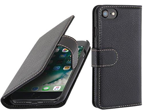 StilGut Lederhülle kompatibel mit iPhone 8/iPhone 7 mit Karten-Fächern, Schwarz