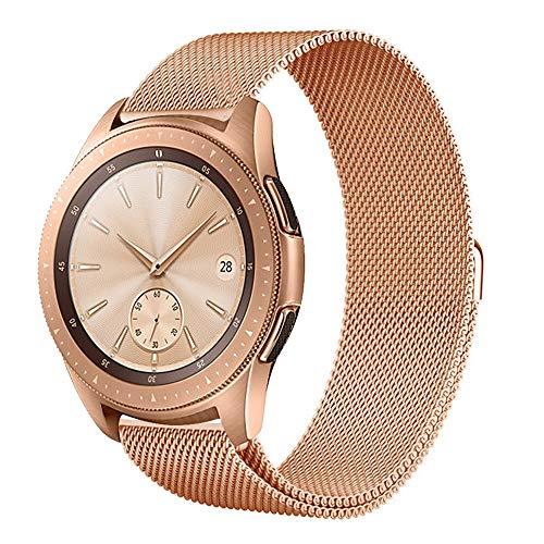 squarex Luxuriöses Milanaise-Armband aus Edelstahl und Metall für Samsung Galaxy Watch 42 mm, für Samsung Galaxy Watch 46 mm, Damen, Rose Gold, for Samsung Galaxy Watch 42mm