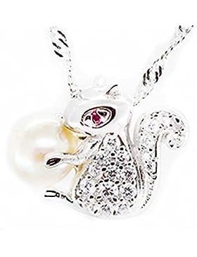 findout Damen Sterling Silber natürliche Süßwasserperlen 7mm niedlichen kleinen Eichhörnchen voller Anhänger Halskette...