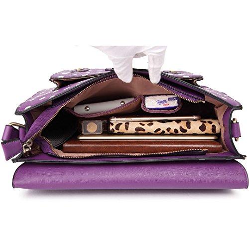 per ecopelle per Miss la Purple pois lavoro scuola con design Lulu cartella in o a Satchel borsa vintage wnqw87SAz
