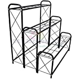 D&V ENGINEERING - Creative in innovation Metal 3 Tier 9 Planter Stand, Black, 82 cm, 1 Piece