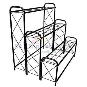 D&V ENGINEERING - Creative in innovation Metal Indoor/Outdoor 3 Tier, 9 Planter Stand/Flowerpot Stand for Home/Garden Decor, 82cm Height - Black
