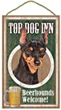 (sjt27947) Miniatur, deutsche, Top Dog Inn 25,4x 40,6cm Holz Plakette, Schild
