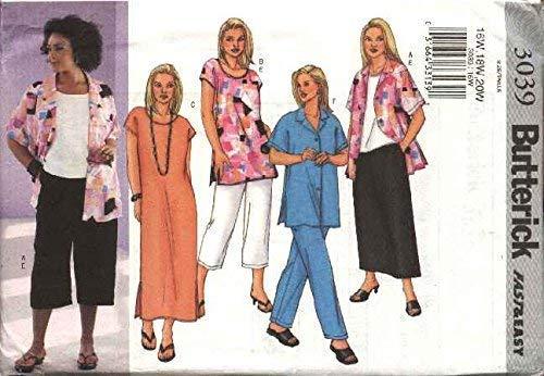 Butterick Patterns b3039 Patrons 22 W Femmes de Petite Chemise, Top, Tunique, Robe, Jupe et Pantalon pour Femme, Blanc
