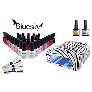 BBEAUTYLOUNGE BLUESKY UV/LED NAIL GEL POLISH STARTER KIT ZEBRA 36W UV LAMP PLUS TOP + BASE + CHOOSE 3 COLOURS