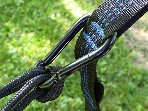 RocFitness® Hängematte aus 100% RipStop Nylon (Fallschirmseide) inkl. 2 Spezialschlaufen für besseren Halt - 5