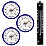 Lantelme 7345Termometro Set con 3PZ. klebet hermometer rotondo colore blu e 1PZ. Analogico in Plastica Termometro Nero
