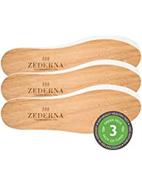 ZEDERNA - 3 paires de semelles en cèdre agissant sur les causes de la transpiration, des mauvaises odeurs et des infections, comme les mycoses ou le pied d'athlète - confortables et naturelles.