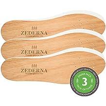 Original Zederna® Zedernholzsohlen & Einlegesohlen für natürlich trockene Füße. Zedernsohlen gegen Fußgeruch, Fußpilz und Nagelpilz. Stoppt Schweißfüße. Beste Frischesohlen & Barfußsohlen. 3er Pack.