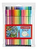 STABILO 68 Premium Felt-Tip Pen - Assorted Colours, Wallet of 30