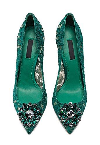 uBeauty Damen Stilettos Hell Spitzen Pumps Luxus High Heels Hochzeitsschuhe Spitze Zehen Slip-on Sandalen Grün