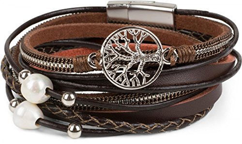 styleBREAKER Wickelarmband mit Perlen, Ketten, Flechtelement und Lebensbaum Anhänger, Magnetverschluss, Armband, Damen 05040070 5