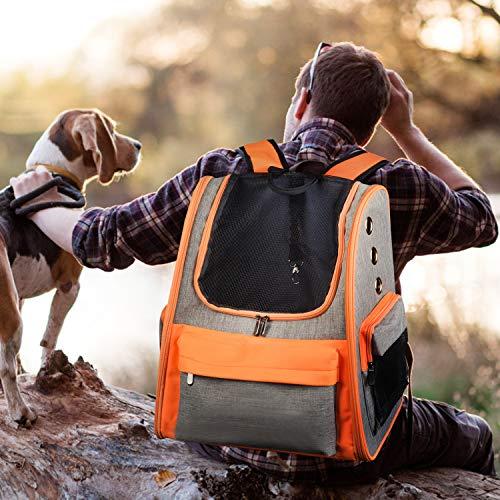 Legendog zaino cane gatto trasportino con viaggio trekking bici moto aereo treno o auto pet backpack resistente capiente traspirante con 3 tasche ,8-10kg