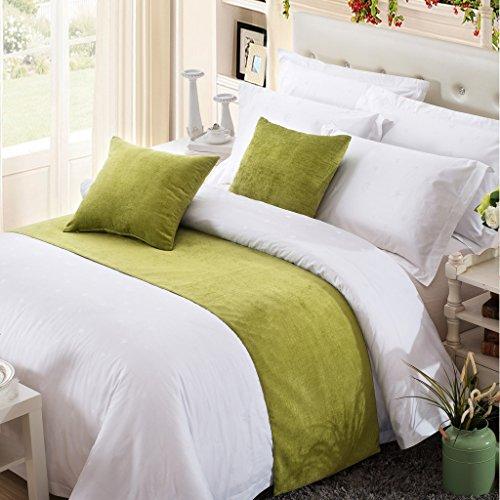 OSVINO Bettläufer 1x Stück Chenille Einfarbig Flauschig Wärmehaltung Betttuch für Sofa Schlafzimmer Hotelzimmer, Grün 240x 50cm für 180cm Bett