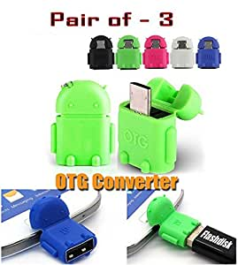 GKP Products ® Pair of-3 OTG Adapter Micro USB OTG to USB 2.0 Adapter for Smartphones & Tablets