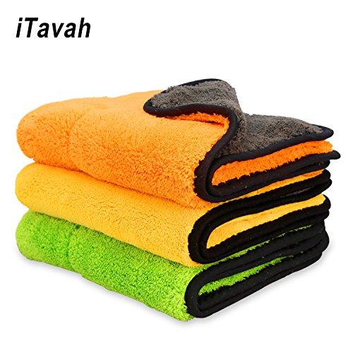 iTavah Auto Mikrofaser Tücher Reinigungstücher Professionellen Autopflege Polieren Wachsen Trocknen Tuch Handtücher für Auto & Motorrad 840gsm 3PCS