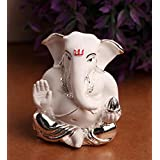 Karigaari India Silver Plated Appu Ganesha Showpiece (Best For Car Dashboard/Car Ganesha/Office Ganesha)