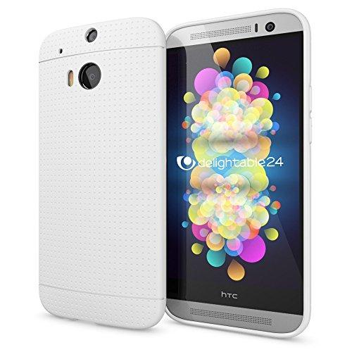 NALIA Handyhülle für HTC One M8 M8S, Ultra-Slim Case Cover, Dünne Punkte Schutzhülle, Etui Handy-Tasche Back-Cover Bumper, TPU Silikon-Hülle für HTC One M8S M8 Smart-Phone - Mesh Weiß