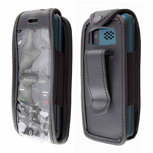 caseroxx Handy-Tasche Ledertasche mit Gürtelclip für Doro Primo 305 aus Echtleder, Handyhülle für Gürtel (mit Sichtfenster aus schmutzabweisender Klarsichtfolie in schwarz)