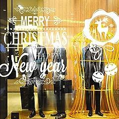 Idea Regalo - Gleecare Adesivo da parete,Fiocco di neve di Natale film elettrostatico Campana vetro finestra sfondo smontabile dell'autoadesivo della parete
