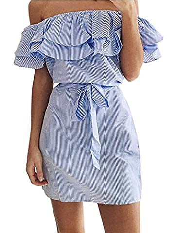 Romanstii Women Summer Sexy Off the Shoulder Striped Bandeau Strapless Ruffles Party Club Shirt Belted Mini Dresses Blue