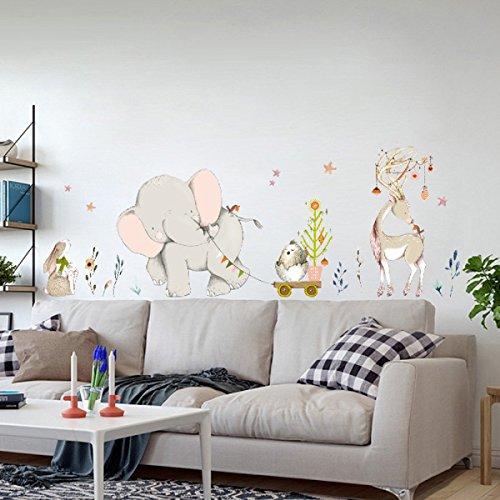 Elefante Feliz PVC Etiqueta de La Pared Kids Room Home Decor Art Background Living Room Removable Sticker Mural