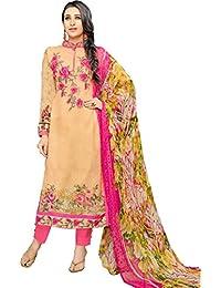 MF Next New Designer Beige & Pink Georgotte Printed & Embroidered Salwar Suit