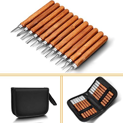 Aitone Holzschnitzwerkzeuge, 12 Stück, SK2, Karbonstahl, Sculpting Messer Kit für Anfänger und Berufe (Familie Spaß Halloween-handwerk-kits)