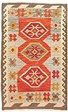 Carpetfine: Kelim Afghan Teppich 76x125 Braun,Rot - Geometrisch