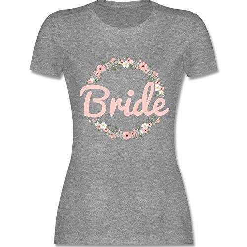 JGA Junggesellinnenabschied - Bride Blumenkranz rosé - M - Grau meliert - L191 - Damen Tshirt und Frauen T-Shirt (Lustig Paar 2019 Kostüme)
