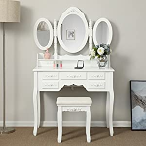 Songmics luxuriös Kippsicherung Schminktisch mit 3 spiegel und hocker, Lederimitat, weiß, 145 x 90 x 40 cm