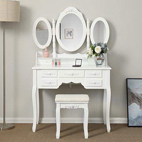 Songmics weiß luxuriös Kippsicherung Schminktisch mit 3 spiegel und hocker, 7 schubladen inkl. 2 Stück Unterteiler, Kippsicherung, 145 x 90 x 40 cm RDT91W
