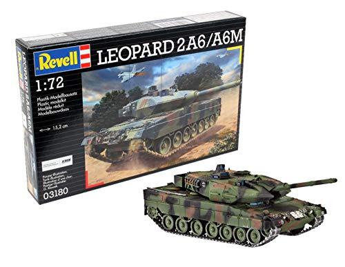 Revell Modellbausatz Panzer 1:72 - Leopard 2 A6/A6M im Maßstab 1:72, Level 4, originalgetreue Nachbildung mit vielen Details, 03180