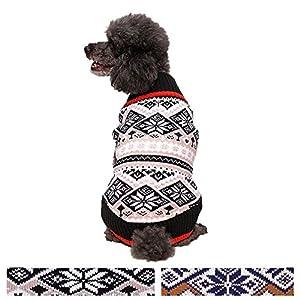 Blueberry Pet Pull-over pour Chien en Tricot Jacquart à motifs Flocons de Neige Scandinaves de