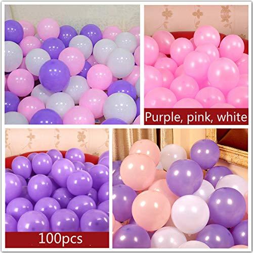 Hapyshop Luftballons Party Dekoration, 100 Stück für Hochzeitsdekoration Geburtstag Baby Shower Graduation Weihnachten Karneval Kinder Party Supplies, Rosa Lila Weiß (Rosa Karneval Dekorationen)