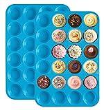 Homankit 24er Mini-Muffinform Silikon Backform - Antihaftbeschichtet Schimmel für Cupcakes, Brownies, Kuchen, Pudding, Muffinform 2-teilig