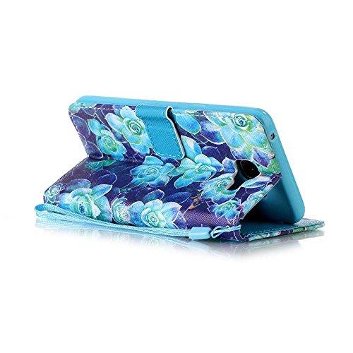 BoxTii® - Custodia a portafoglio in pelle + pellicola protezione schermo in vetro temperato, con cover posteriore, per Apple iPhone 6/6S, modello colorato con cinturino da polso e scomparti per carte  #9 Blue