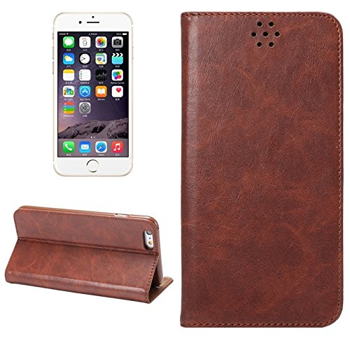 Phone case & Hülle Für IPhone 6 Plus / 6S Plus, Crazy Horse Texture Magnetic Horizontale Flip Leder Tasche mit Halter & Card Slot ( Color : Black ) Brown