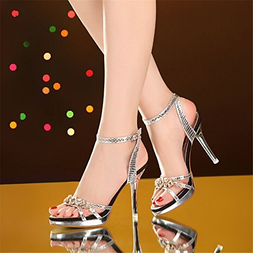 HXVU56546 Sommer Sandalen Frauen Neues Wasser Bohren Dünne Schuhe Mit Hohen Absätzen Mit Sexy Weiblichen 39 Silber