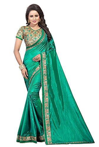jashvi creation Women's Pepar Silk Saree With Embroidered Blouse Piece (Green, Silk)