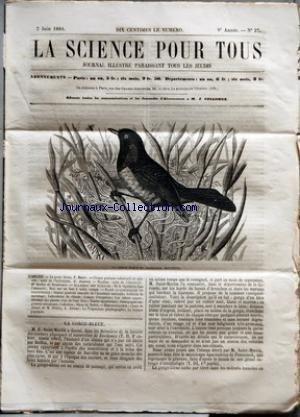 SCIENCE POUR TOUS (LA) [No 27] du 02/06/1864 - LA GORGE BLEUE PAR F. HOEFER CHIMIE PRATIQUE INDUSTRIELLE ET AGRICOLE - SUITE DE L'HYDROGENE PAR G. JOUANNE HYGIENE - SUITE DE L'ELECTRICITE PAR DR SCELLES DE MONTDESERT ACADEMIE DES SCIENCES - DE LA VEGETATION DANS L'OBSCURITE - NOTE SUR UN FOUR A TUILES ROMAIN FAITS SCIENTIFIQUES ET INDUSTRIELS - SEANCE GENERALE ANNUELLE DE L'ACADEMIE NATIONALE - ARTILLERIE DE SAUVETAGE - LABORATOIRE DE CHIMIE - CANAUX D'IRRIGATION - LES ARB