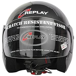 Replay Essex Hit Plain Open Face Helmet with Clear Visor (Grey, M)