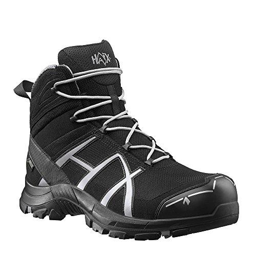 HAIX Black Eagle Safety 40 Mid black/silver Bequeme Arbeitskleidung: Sicherheitsschuhe für Handwerk und Industrie. 45